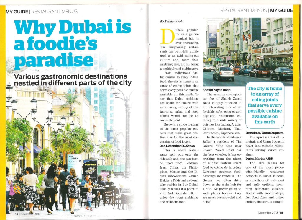 Popular eating out areas in Dubai in GULF NEWS MyGuide-dec_13